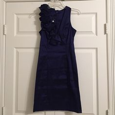 Navy Cocktail Dress - Beautiful Jessica McClintock Cocktail / semi formal dress / prom dress. Size 10. Fits like - 4/6. Has stretch and Will hug your curves while still be a classy dress. A great party shimmering navy with a fun one shoulder ruffle detail. MAKE ME AN OFFER  Jessica McClintock Dresses Prom