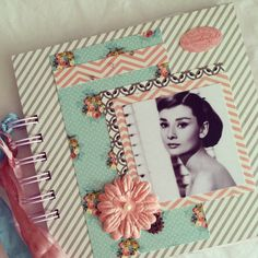 Audrey Hepburn shabby chic journal pastel colors by fairybootique, $25.00