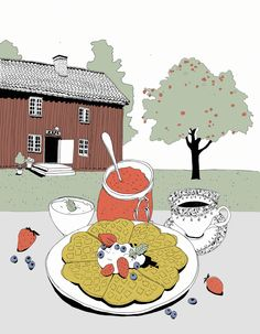 Illustration for Mjøsmuseet, Gjøvik. Eiketunet. Illustrated by Oda Valle. All copyrights belongs to Mjøsmuseet.