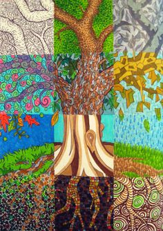 A tree divided up into 12 squares, each colored in a different style. Ball-point pen and markers.
