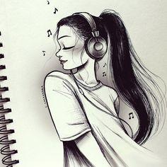 C-Cassandra Character Design C Cassandra, Amazing Drawings, Beautiful Drawings, Amazing Art, Girl Drawing Sketches, Sketches Of Girls, Cute Drawings Of Girls, Girl Sketch, Music Drawings
