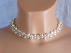 Perle+und+Kristall+Halskette+für+die+Braut,Brautsc+von+akcrystalbead+auf+DaWanda.com