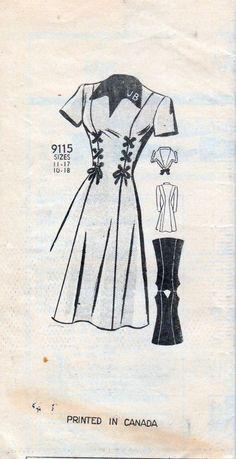 marian martin 9115 vintage clothing pattern 40's ladies dress