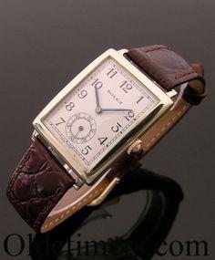 A gold rectangular vintage Rolex watch, 1934 - men's watches - Men's Watch Swiss Watches For Men, Best Watches For Men, Fine Watches, Vintage Rolex, Vintage Watches, Luxury Watches, Rolex Watches, Best Looking Watches, Accessories