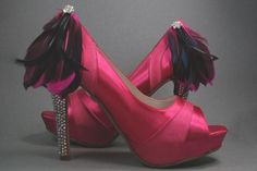 "Hot Pink Peep Toe Wedding Shoes with Rhinestone Covered Heel, Black & Pink Feather Accent and Blue ""I Do"""