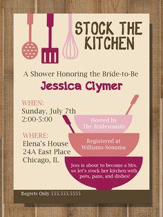 printable bridal shower invitation stock the kitchen custom