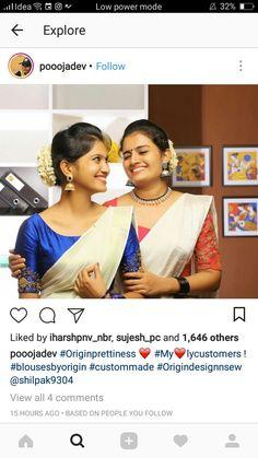 Onam sarees Kerala Saree Blouse Designs, Blouse Designs Silk, Blouse Patterns, Onam Saree, Kasavu Saree, Set Saree Kerala, Ethnic Suit, Modern Saree, Churidar Designs