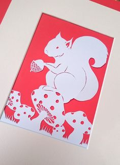 Nursery / Girl's Room Art - DIY Papercut Template  Squirrel's Lunch time by RockaByeBabyD