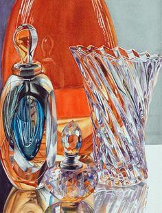 Carol Creel ~ Perfume Bottles with Vase, Watercolor
