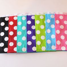 Polka Dot Favor Bags - 24 YOU PICK your COLOR - Designer Party Favor Bags, Weddings, Birthday, Made in Usa