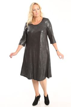 Vikki Vi Jersey Glamour 3/4 Sleeve A-Line Dress A great plus size piece for your holiday party.