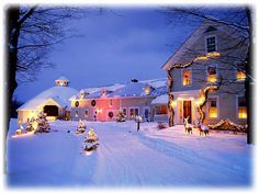 It's almost impossible to deny the appeal of a classic New England inn—especially in winter—like the Inn at Round Barn Farm, a farmhouse-and-horse barn–turned-hotel that sits on 245 bucolic acres in Vermont's Mad River Valley. Snow Scenes, Winter Scenes, Best Romantic Getaways, Oh The Places You'll Go, Places To Visit, Christmas Scenes, Christmas Time, Christmas Feeling, Christmas Porch