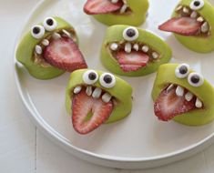 Sliced apples, p'butter, sunflower seeds or marshmallows, strawberry slice, googly eyes - silly monster treats!