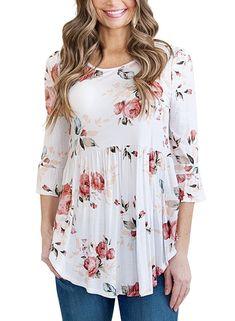 ee572146009 Women's Floral Print Babydoll Loose Ruffle Hem Bell Sleeve Peplum Top -  White - CB18630XCD9