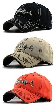 Men Embroidery Fish Bone Pattern Washed Baseball Cap Classic Breathable  Outdoor Sunshade Hat 5133372aea96