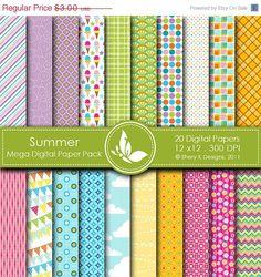 60% off St. Patricks Day Summer Mega Paper Pack - 20 Printable Digital scrapbooking papers - 12 x12 - 300 DPI. $1.20, via Etsy.