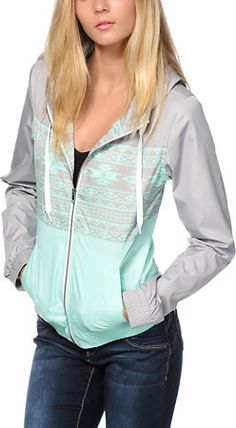 Empyre Sutton Mint Tribal Windbreaker Jacket from Zumiez. Saved to Warm Vibes. Sweater Jacket, Vest Jacket, Cute Jackets, Jackets For Women, Pretty Outfits, Cute Outfits, Modest Outfits, Soft Shell, Windbreaker Jacket