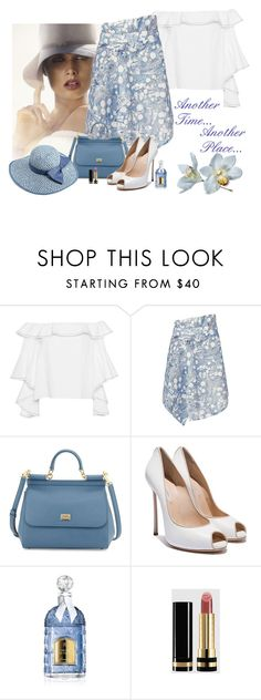 """Another Time...  Another Place..."" by katiethomas-2 ❤ liked on Polyvore featuring Alexis, Bela, Carven, Dolce&Gabbana, Jessica Simpson, Guerlain, Gucci and BOBBY"