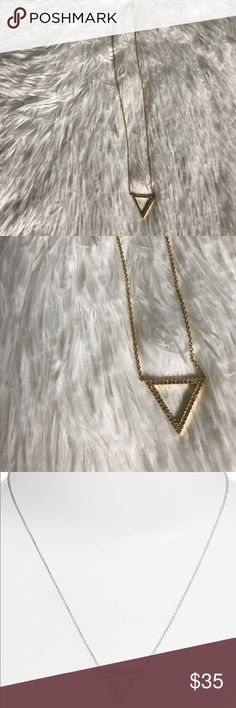 "Delicate Triangle Pave Necklace Never worn. Purchased from Nordstrom. 4th photo shows info. Third photo is same Necklace in ""silver"" Nadri Jewelry Necklaces"