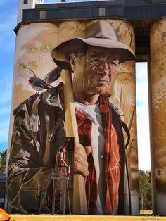 "Titled ""Smug"" painting of Tumby Bay resident Dion Debrun Wirrabara, South Australia. - Silo Art Trail - Australia's number one must do road trip - Great Australian Adventure 3d Street Art, Murals Street Art, Art Mural, Street Art Graffiti, Street Artists, Graffiti Artists, Banksy, New York Graffiti, Sidewalk Chalk Art"