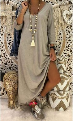Robe Magda ML Taupe - MinoDuSud everyday outfits everyday outfits ideas everyday outfit. Everyday Outfits, Everyday Fashion, Modest Fashion, Fashion Dresses, Look Fashion, Womens Fashion, Look Boho, Hippie Outfits, Get Dressed