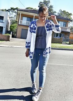 Zara boho jacket, French Connection striped tank, Blanknyc jeans, Converse sneakers