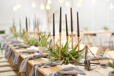 Industrial wedding styled by Oh Happy Day, with a Grey and Black colour Palette and copper accents. Wooden Trestle Table, Trestle Tables, Wedding Table, Our Wedding, Wedding Ideas, Black Color Palette, Copper Accents, Black Candles, Industrial Wedding
