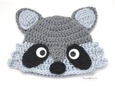 Crochet Raccoon Hat - Repeat Crafter Me, free pattern Crochet Animal Hats, Easy Crochet Hat, Bonnet Crochet, Crochet Kids Hats, Crochet Amigurumi, Crochet Fox, Crochet Beanie, Cute Crochet, Crochet Crafts