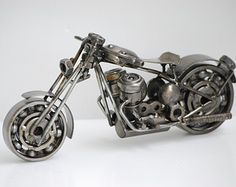 Chopper Long Fork Motorcycle Scrap Metal por Metalmodelhouse