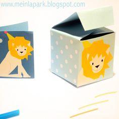 Free printable favor box and children art lion tag...| MeinLilaPark  http://meinlilapark.blogspot.ch/2014/07/free-printable-favor-box-and-children.html