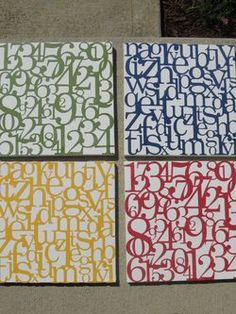 Scrapbook paper or vinyl numbers and letters can be used to create a coordinated art grouping.