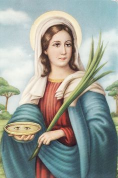 Saint Lucy (Santa Lucia) ~ 283 - 304 ~ Young Christian martyr who died during the Diocletianic Persecution. ~ Patron saint of the blind and those with eye disorders. Patron Saints, Catholic Saints, Roman Catholic, Sankta Lucia, St. Lucia, Santa Lucia Day, Santa Sara, Ciel Rose, Sainte Therese