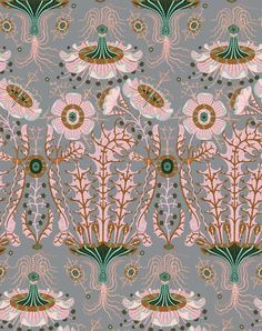 Equinoxe Wallpaper -- Exotic floral pattern in pink, green, grey and brown