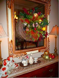 Hang a decorated wreath on a mirror and see what happens.