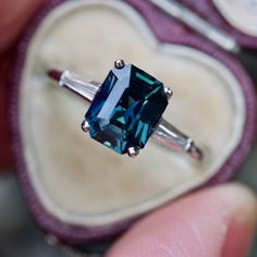 Emerald Cut Green Blue Sapphire Ring Platinum w/ Baguette Diamonds #platinumdiamond