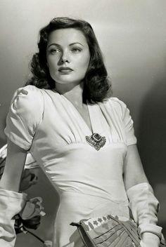 Gene Tierney | vintage 1940s dress + broach | 40s hairstyle