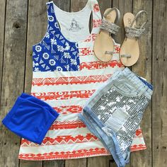 Come get Fourth of July ready with us!  #AmericanFlag #Tribal #Tank $19.99 S-L #Sequin #Shorts $36.99 S-L #DCS #Sandals $49.95 5-7, 9&10 #TubeTop $7.49 We #ship! Call us today! 903.322.4316 #shopdcs #instashop #instafashion #shopdavis #shoplocal #love