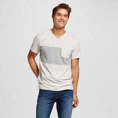 Men's V-Neck T-Shirt Cream XL - Mossimo Supply Co., Light Cream