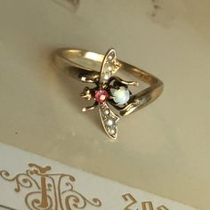 Insect Bug Ring  Victorian Opal Ruby and by EstateJewelryMama