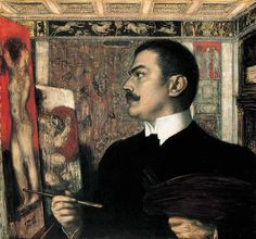 Self Portrait at the Easel by Franz von Stuck 1905 (@smbmuseum). Painter (mythology), sculptor, engraver, architect.