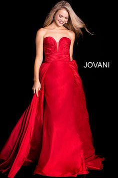 13441937f3a Jovani 36163 Floor length fuchsia silk taffeta column gown with full over  skirt features strapless ruched bodice with plunging sweetheart neckline.