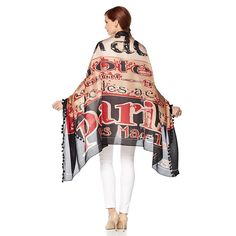 Clever Carriage Company Hotel Silk Scarf with Tassel Trim - Black/Tan/Red