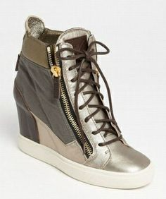 GIUSEPPE ZANOTTI CANVAS AND SUEDE WEDGE SNEAKERS