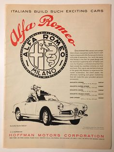 1960 Alfa Romeo Giulietta Ad in Road and Track magazine by YourBackPages on Etsy https://www.etsy.com/listing/575198167/1960-alfa-romeo-giulietta-ad-in-road-and #alfaromeogiulietta