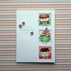 """A friendship card that I made with the """"Sweet Friends"""" stamp set from """"Lawn Fawn""""."""