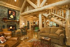 Log Home living rooms | Log Home - Edenfield - traditional - living room - other metro - by ...