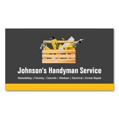 Handyman business card samples free business cards card templates handyman service company equipment toolbox business card templates cheaphphosting Choice Image