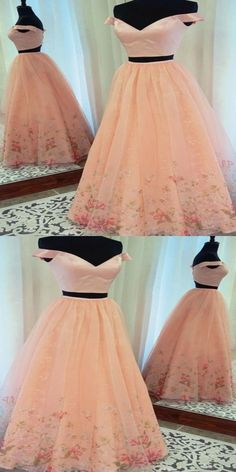 Stunning Two Piece Prom Dress,Sexy Prom Dress,A-Line Prom Dress,Off-The-Shoulder Prom Dress,Pink Long Prom Dress Prom Dresses Long Pink, A Line Prom Dresses, Prom Dresses With Sleeves, Formal Evening Dresses, Homecoming Dresses, Dress Long, Dress Prom, Prom Gowns, Formal Prom