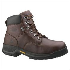 """Wolverine Men's Harrison 6"""" Waterproof Work Boot Wolverine. $99.00. Lightweight polyurethane midsole. Cement construction. Waterproof full-grain leather upper. manmade sole. Removable full-cushion polyurethane footbed. GORE-TEX waterproof breathable membrane lining. leather"""