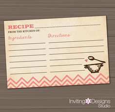 Recipe Card Kitchen Bridal Shower Wedding by InvitingDesignStudio, $12.00  Each guest brings a recipe for the bride's collection